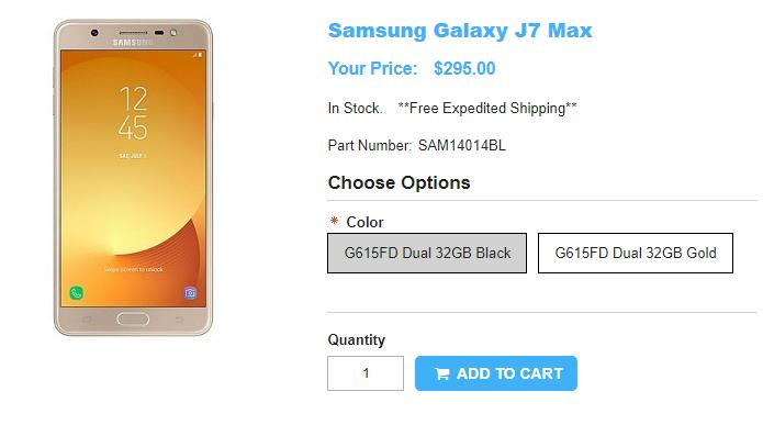 1ShopMobile.com Samsung Galaxy J7 Max 商品ページ