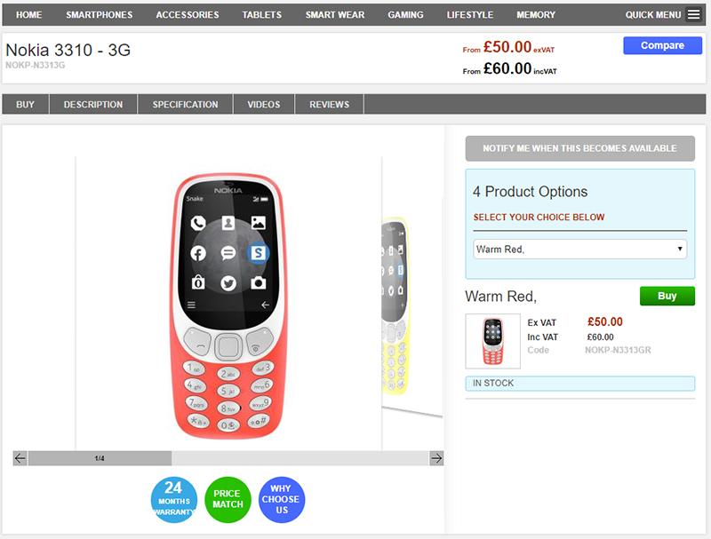 Clove Nokia 3310 3G 商品ページ