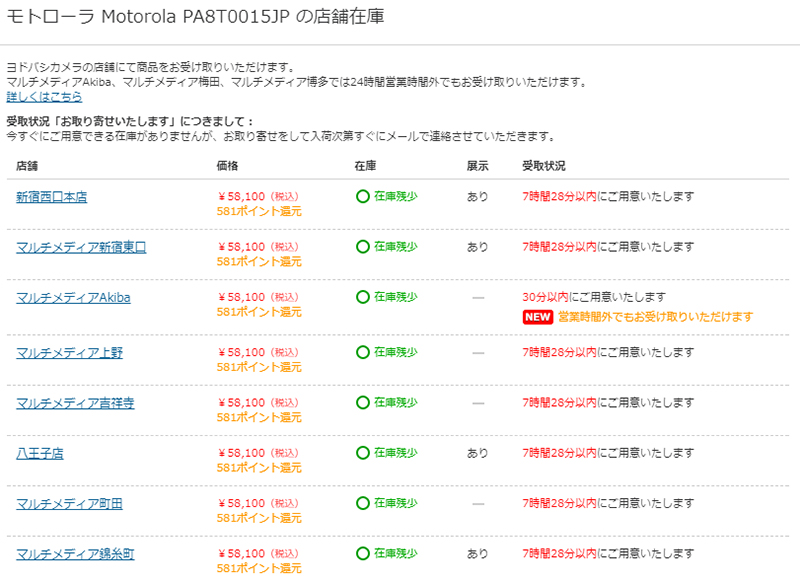 ヨドバシカメラ Motorola Moto X4の在庫と展示状況