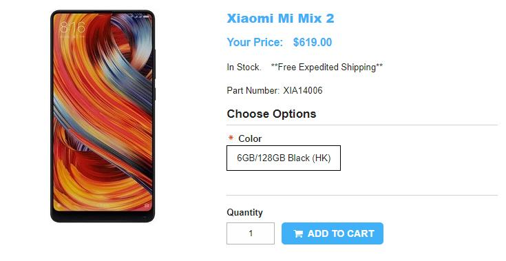 1ShopMobile.com Xiaomi Mi MIX 2 商品ページ
