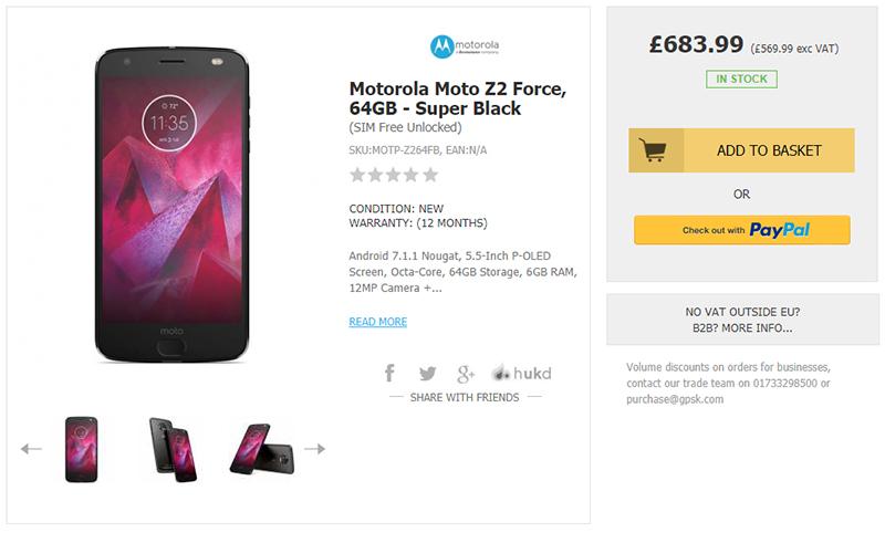 Handtec Motorola Moto Z2 Force 商品ページ