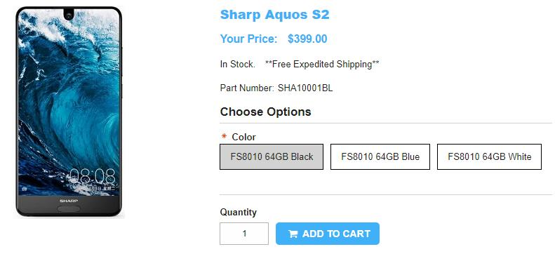 1ShopMobile.com AQUOS S2 商品ページ