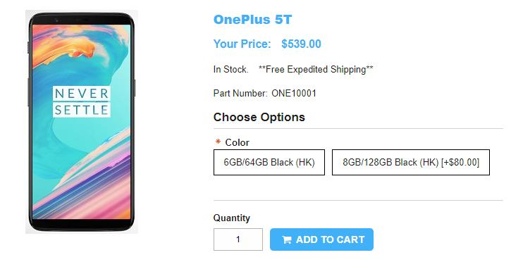 1ShopMobile.com OnePlus 5T 商品ページ