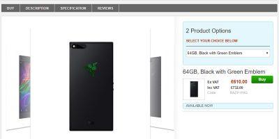 Clove Razer Phone 商品ページ