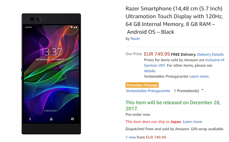 Amazon.de Razer Phone 商品ページ