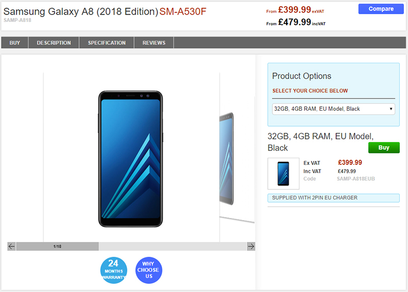 Clove Samsung Galaxy A8(2018) 商品ページ