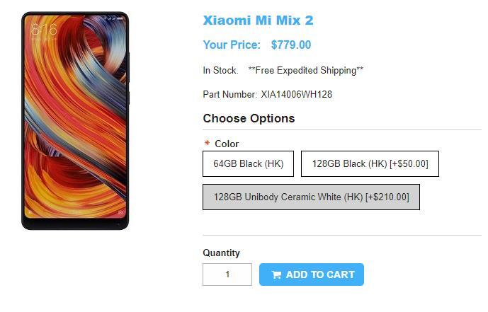 1ShopMobile.com Xiaomi Mi MIX 2 商品ページ