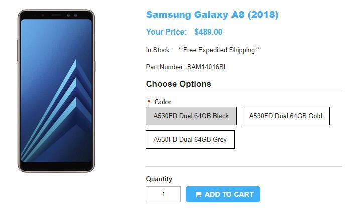 1ShopMobile.com Samsung Galaxy A8(2018) 商品ページ