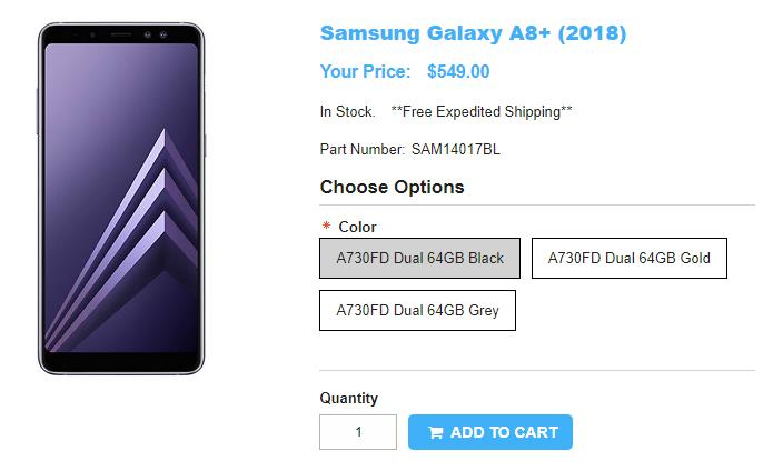 1ShopMobile.com Samsung Galaxy A8+(2018) 商品ページ