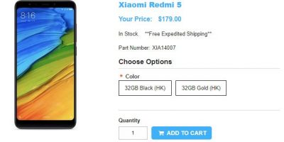 1ShopMobile.com Xiaomi Redmi 5 商品ページ
