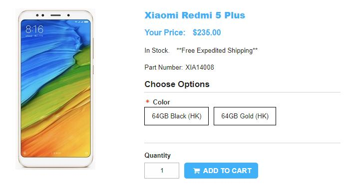1ShopMobile.com Xiaomi Redmi 5 Plus 商品ページ