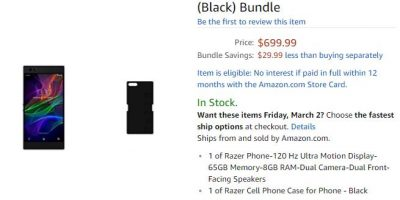 Amazon.com Razer Phone 商品ページ