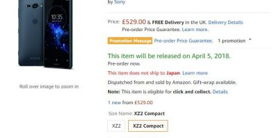 Amazon.co.uk Sony Xperia XZ2 Compact 商品ページ