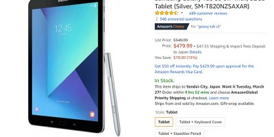 Amazon.com Samsung Galaxy Tab S3 商品ページ