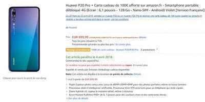 Amazon.fr Huawei P20 Pro 商品ページ