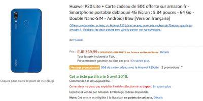 Amazon.fr Huawei P20 lite 商品ページ