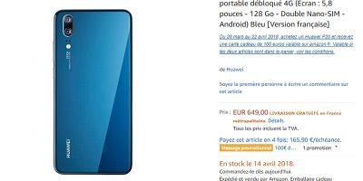 Amazon.fr Huawei P20 商品ページ