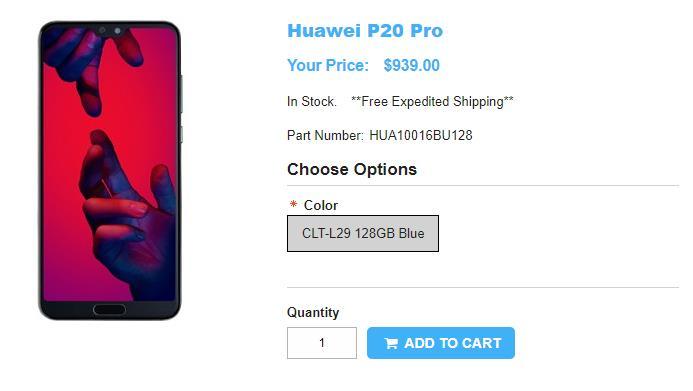 1ShopMobile.com Huawei P20 Pro 商品ページ