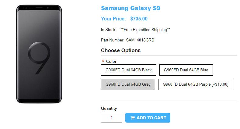 1ShopMobile.com Samsung Galaxy S9 商品ページ