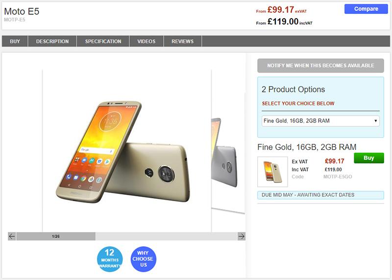 Clove Motorola Moto E5 商品ページ