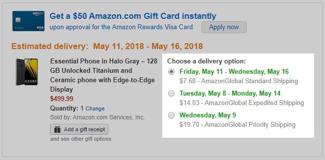Amazon.com Essential Phone 配送料