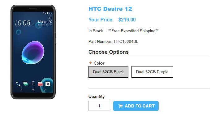 1ShopMobile.com HTC Desire 12 商品ページ