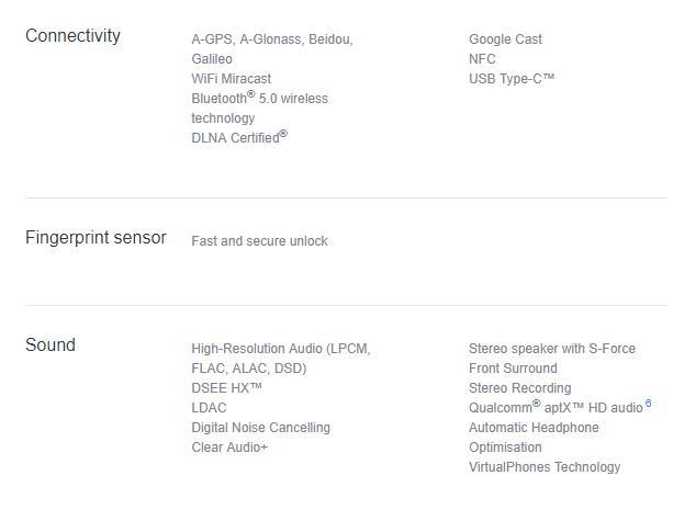 Sony Mobile(UK)に記載されたXperia XZ1 Compactの仕様情報
