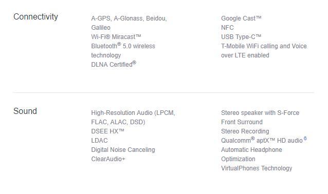 Sony Mobile(US)に記載されたXperia XZ1 Compactの仕様情報