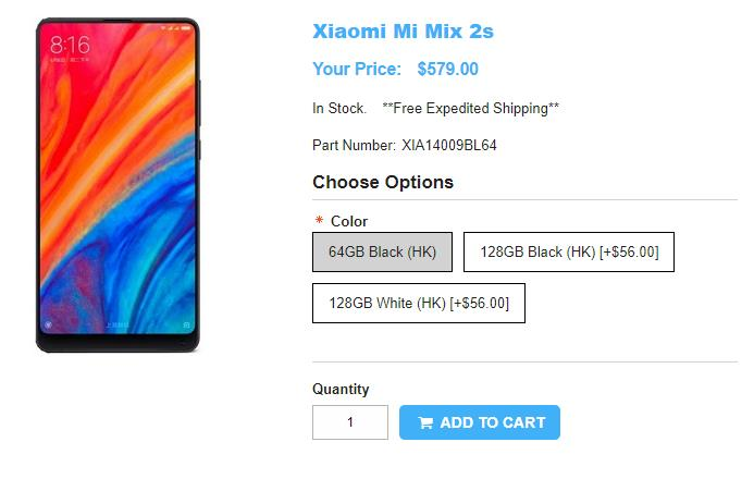 1ShopMobile.com Xioami Mi MIX 2s 商品ページ