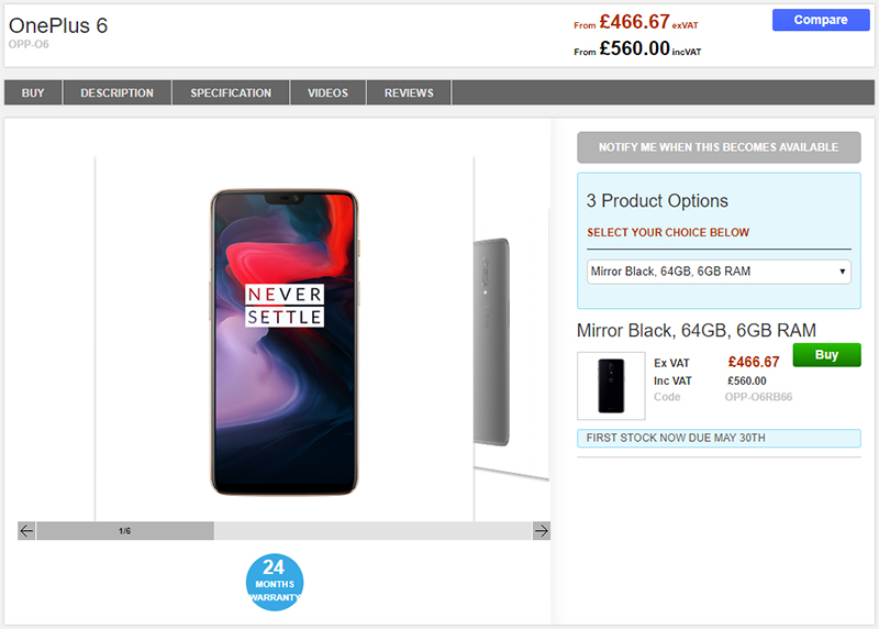 Clove OnePlus 6 商品ページ