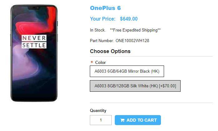 1ShopMobile.com OnePlus 6 商品ページ