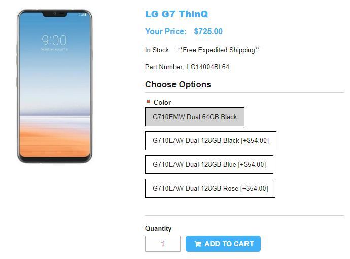 1ShopMobile.com LG G7 ThinQ 商品ページ