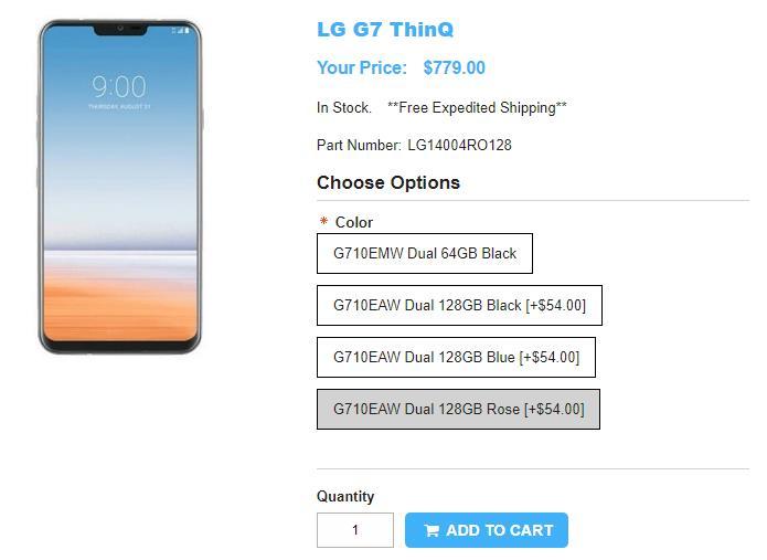 1ShopMobile.com LG G7+ ThinQ 商品ページ