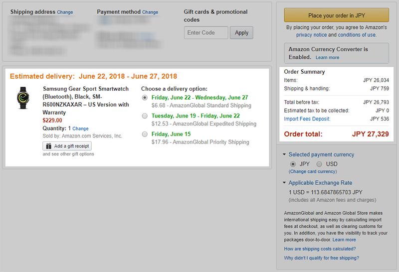 Amazon.com Samsung Gear Sport 購入費用