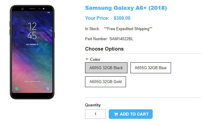 1ShopMobile.com Samsung Galaxy A6+ 商品ページ