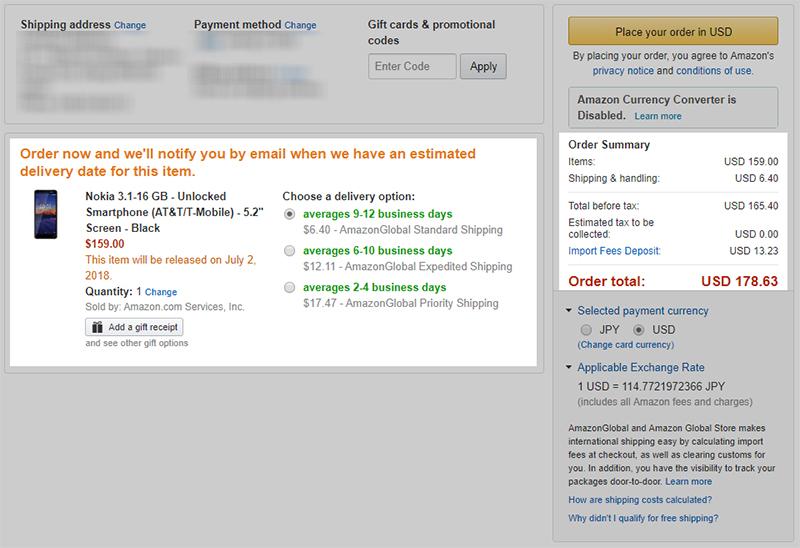 Amazon.com Nokia 3.1 購入費用