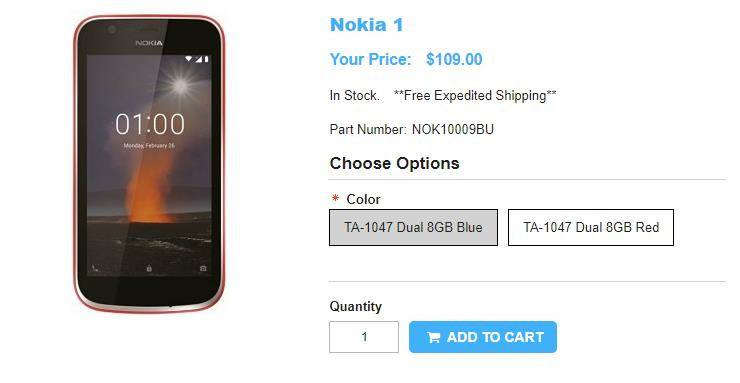 1ShopMobile.com Nokia 1 商品ページ