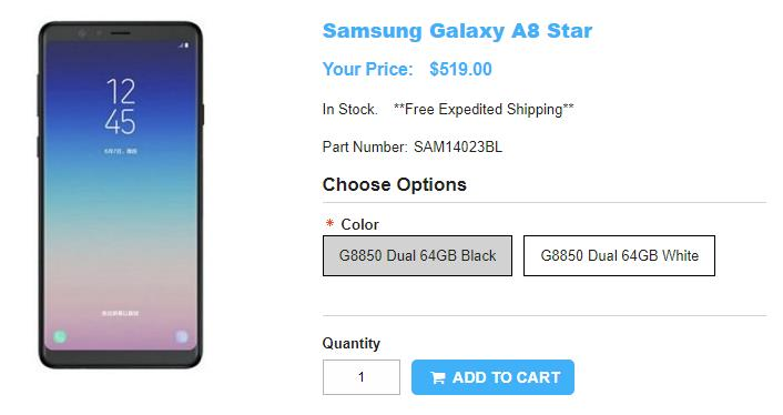 1ShopMobile.com Samsung Galaxy A8 Star 商品ページ