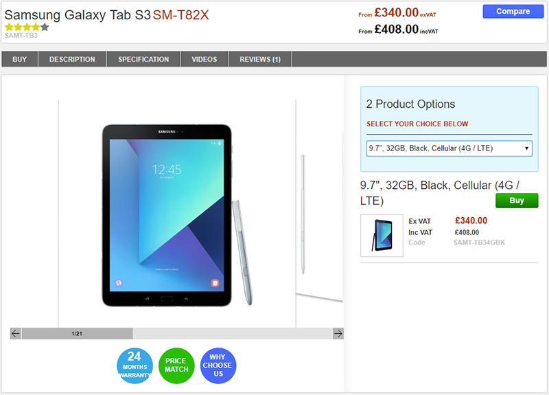 Clove Samsung Galaxy Tab S3 商品ページ
