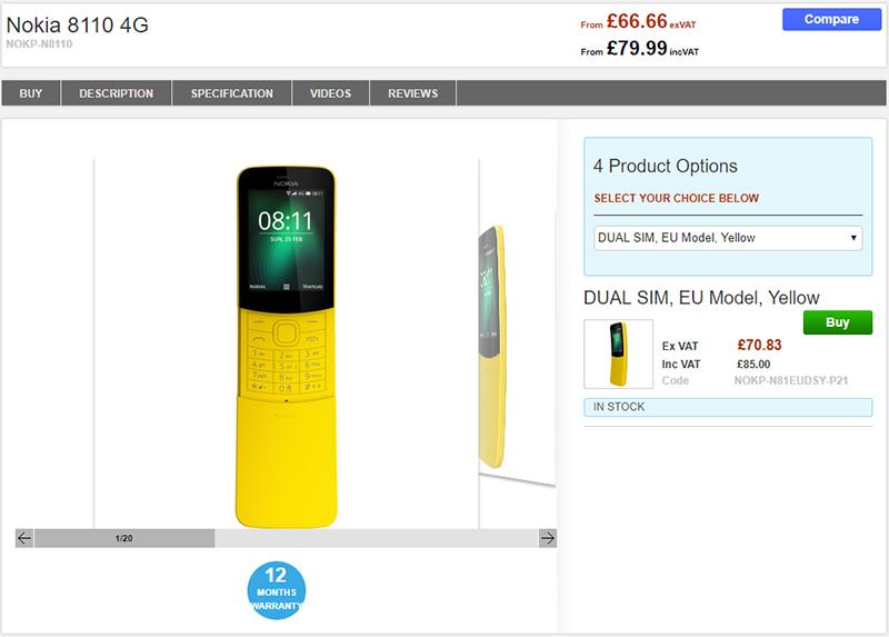 Clove Nokia 8110 4G 商品ページ
