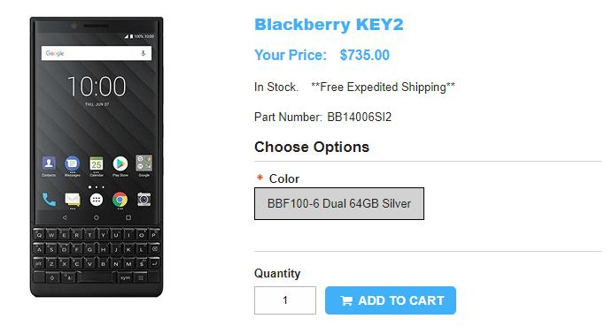 1ShopMobile.com BlackBerry KEY2 商品ページ
