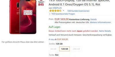 Amazon.de OnePlus 6 商品ページ