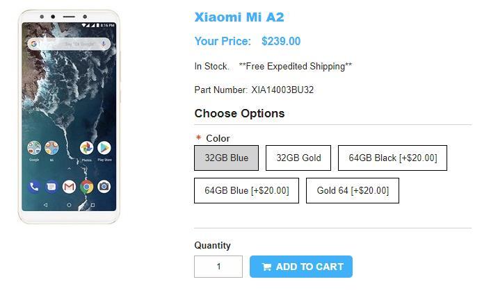 1ShopMobile.com Xiaomi Mi A2 商品ページ