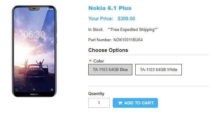 1ShopMobile.com Nokia 6.1 Plus 商品ページ