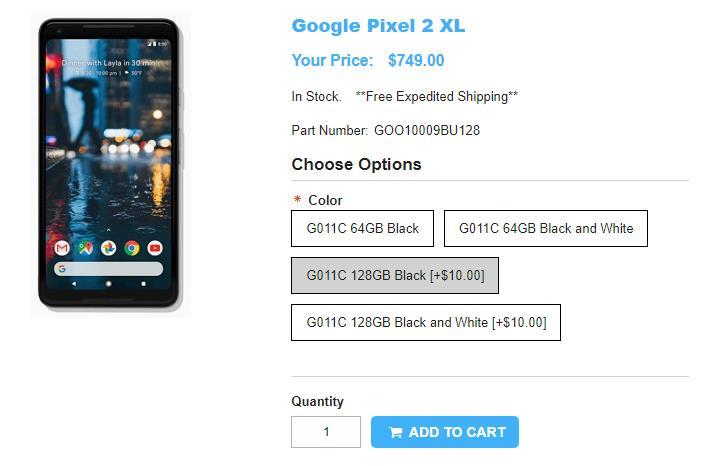 1ShopMobile.com Google Pixel 2 XL 商品ページ