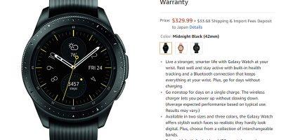 Amazon.com Samsung Galaxy Watch 商品ページ