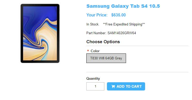 1ShopMobile.com Samsung Galaxy Tab S4 商品ページ