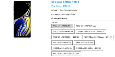 1ShopMobile.com Samsung Galaxy Note9 商品ページ
