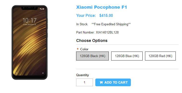 1ShopMobile.com Xiaomi Pocophone F1 商品ページ
