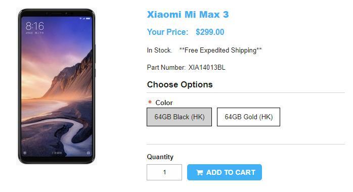 1ShopMobile.com Xiaomi Mi Max 3 商品ページ